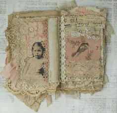 Mixed Media Fabric Collage Book of French Girls | eBay
