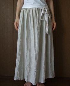 Image 1: Linen plenty of gathered skirt (Uncle length · L = 85)