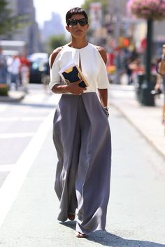 We love the combination of wide trousers and cutout shoulder top see at NYFW. For this look we absolutely recommend you keep a travel size Garment Groom in your purse at all times. It not only removes stain, fast, it freshens clothes and helps 'iron' out a wrinkle... or two. http://www.purewow.com/fashion/Fashion-Trend-Report-2016?utm_source=zergnet&utm_medium=syndication