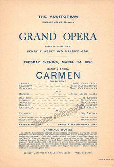 Carmen - Met Opera in Chicago Program 1896 - Emma Calvé