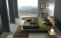 What a darkly rich bedroom with a view!