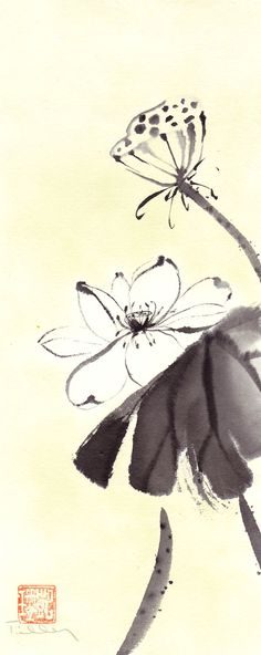 Your place to buy and sell all things handmade - Ink Painting Sakura Painting, Sumi E Painting, Lotus Painting, Japan Painting, Japanese Drawings, Japanese Art, Chinese Painting Flowers, Lotus Art, Tinta China