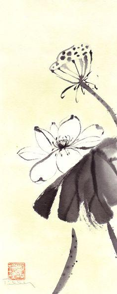 Original Asian Style Minimalist Ink Painting White by 3katdesign, $90.00