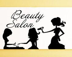 Pared etiqueta salón de belleza pelo salón por CreativeDecalsforYou