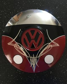 VW Bus Art on vintage VW hubcap with pinstriping. #vanepinstriping
