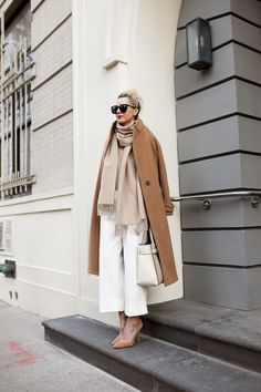 white culottes with camel coat