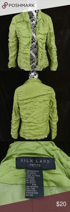 Beautiful Lime Green Silk Jacket Lime Green Silk jacket. Roushing effect.  Fully lined. No zipper or buttons Silk Land  Jackets & Coats Blazers