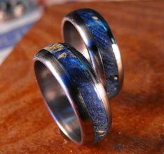 Titanium Wedding Band Set- Blue Box Elder Wood Inlay Rings. $255.00, via Etsy.