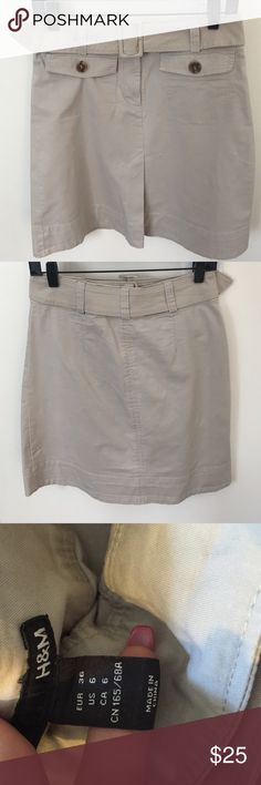 "Skirt Tan/beige cotton skirt. Removable belt. Great for summer time. 20.5"" lenght H&M Skirts A-Line or Full"