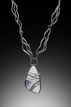Gray Graphic Drusy Necklace 1 created by artist Lori Gottlieb - oxidized silver & drusy one of a kind necklace. On Artful Home #flashgallery
