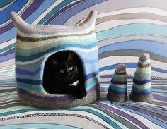 Cat cave, Cat bed, Stripe, Blue, Purple, White, Grey , Cat house, Pet house, Felt cat cave, Natural wool, Eco friendly, Fantasy cat cave