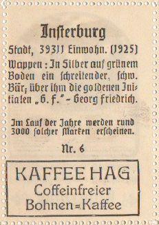 kaffee hag Insterburg/ 1925