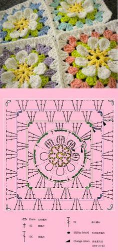 Ivelise Feito à Mão: Lindo Square Colorido De Crochê