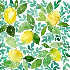 ORIGINAL WATERCOLOR LEMONS AND LEAVES PAINTING THIS LISTING INCLUDES: (1) original watercolor painting of yellow lemons with green and blue leaves and stems. MATERIALS: -Painted with professional-grade watercolor paints on 100% cotton, acid-free, 140lb, hot press watercolor paper