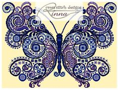 BeauTiful Blue Butterfly Sampler by CrossStitchRinna on Etsy