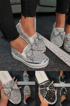 heels outfit casual Women Shining Rhinestone Slip-on Loafers with Cute Bowknot Pretty Shoes, Cute Shoes, Me Too Shoes, Sneakers Mode, Sneakers Fashion, Fashion Shoes, Souliers Nike, Look Fashion, Womens Fashion