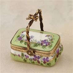 Limoges Violets Green Basket Box The Cottage Shop.  One of my favorite color combinations.
