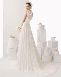 CANCUN - Vestido en gasa de seda, en color natural T26 Diade... - ROSA CLARA