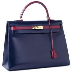 Hermes Kelly Bags and Birkins Hermes 35cm Indigo and Rouge Vif Bi Color Kelly Bag found on Polyvore
