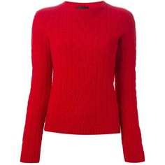 The Row Cable Knit Jumper ($1,153) ❤ liked on Polyvore featuring tops, sweaters, shirts, red, long sleeve sweaters, red sweater, cable sweater, cable knit crew neck sweater and long sleeve tops