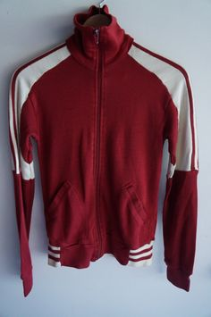 Vintage 70's Tracksuit Top -  Plum / White  - Small - FREE SHIPPING (Item T19) Track Jacket Unisex 80s