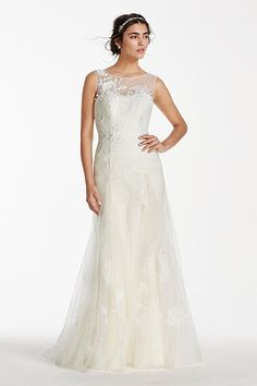 Melissa Sweet Tank Tulle Wedding Dress with Beads MS251114 - I like the silhouette and illusion neckline (and the back!) but not the tulle