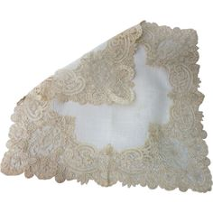 Fine Antique Victorian Brussels Mixed Lace Wedding Handkerchief ❤ liked on Polyvore featuring fillers, accessories, etc, home and objects