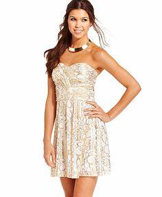 bridemaids Hailey Logan Juniors Dress, Strapless Metallic Printed Cutout