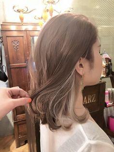 Hair Streaks, Hair Highlights, Japanese Hair Color, Medium Hair Styles, Curly Hair Styles, Hair Color Underneath, Short Grunge Hair, Asian Short Hair, Japanese Hairstyle