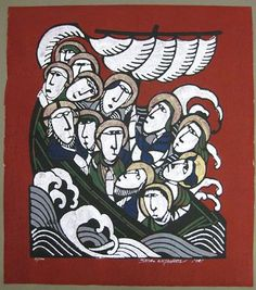 Japanese Art by the artist Sadao Watanabe | Scriptum Inc Christ in the Boat with Disciples
