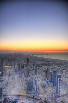 Sunset over Dubai Riyadh, Sharjah, Doha, United Arab Emirates, New York Skyline, The Unit, Sunset, City, Beach