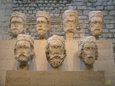 Original heads of Old Testament kings from the facade of Notre Dame, Paris.  The statues were beheaded, allegedly because the crowd thought that the statues represented French monarchs.  The heads were found buried some years later, and have since been placed in the Musee de Cluny in Paris (Museum of the Middle Ages).  The present statues have replica heads.