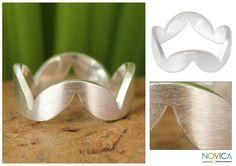 Sterling silver band ring - Harmony | NOVICA