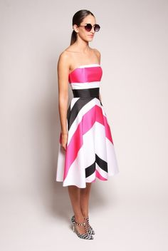 Silk Strapless Striped A-Line Dress