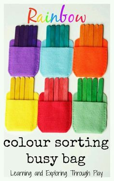 This color sorting busy bag is a way for kids to learn through playing. You could use this busy bag for long trips or at home. This hands on game will teach toddlers and preschoolers about colors. Toddler Learning Activities, Sorting Activities, Montessori Activities, Infant Activities, Toddler Preschool, Colour Activities For Toddlers, Kids Learning Activities, Toddler Color Games, Family Activities
