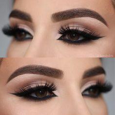 "Eye close-up, Soft & Smokey wing✨Used @anastasiabeverlyhills ""Soft Glam"" on the eyes! Product details  Brow"