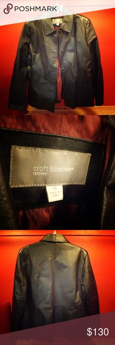 Croft and Barrow GENUINE Leather Jacket Its leather! Croft and Barrow makes some amazing leather jackets and this one is one that can prove it to you! It is great for the winter time, for bike riding or whatever else you do in your life! Leather is any ones best friend! Offers at H and Z Fashion are always welcomed! (; croft & barrow Jackets & Coats