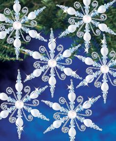 Best 12 Mary Maxim – Light Sapphire Snowflakes Beaded Ornament Kit – Page 862439397375935665 Diy Christmas Fireplace, Diy Christmas Snowflakes, Beaded Christmas Decorations, Snowflake Craft, Snowflake Decorations, Snowflake Ornaments, Beaded Ornaments, Holiday Ornaments, Christmas Crafts