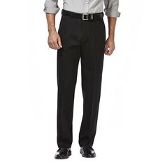 Men's Haggar Premium No Iron Khaki Stretch Straight-Fit Flat-Front Pants, Size: