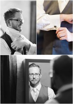 Groom wedding day preparation; superman cuff links; nerdy wedding; Suit by Men's Wearhouse.  From our photographer's blog entry about our wedding.  Dan & Erin PhotoCinema.