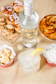 Banana Cream Pie with 1.25 oz Smirnoff® Whipped Cream Flavored Vodka, 0.5 oz banana liqueur, 1.5 oz lemonade, and 0.5 oz banana puree.