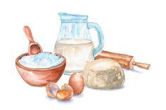 Watercolor kitchen set for baking , Baking Logo Design, Cake Logo Design, Watercolor Food, Watercolor Paintings, Watercolour, Cute Illustration, Botanical Illustration, Recipe Drawing, Food Drawing