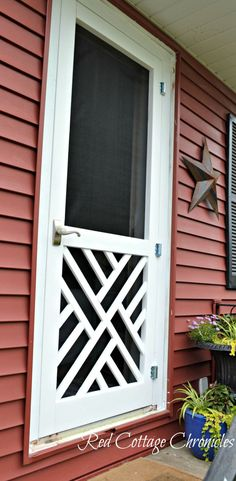 "A nice screen door really adds to curb appeal. This ""Chippendale"" wood screen door tutorial can help you build your own for a fraction of the cost of new! Wood Screen Door, Screen Doors, Diy Interior Screen Door, Balustrades, Old Shutters, Farmhouse Shutters, Red Cottage, Cottage Door, Old Doors"