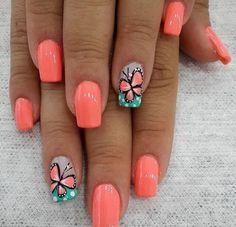 Fall Autumn Nail Vinyl Stencils for Nail Art Design - Cute Nails Club Nail Designs Spring, Toe Nail Designs, Nails Design, Coral Nails With Design, Fingernail Designs, Spring Nail Art, Spring Design, Nails Ideias, Uñas Color Coral