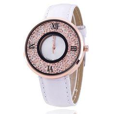 Vansvar Brand Fashion Women Rhinestone Watches Luxury Leather Women Dress Watch Casual Quartz Watches Relogio Feminino 613