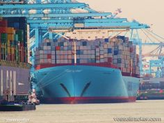 Estelle Maersk - Type of ship: Cargo Ship - Callsign: OVXO2 - vesseltracker.com Maersk Line, Sea Containers, Cargo Container, Weird Cars, Oil And Gas, Denmark, Boats, Sky, Island
