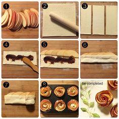 * * クルクル簡単アップルパイの作り方 * ❶りんごを薄切りにして、レンジで30秒温めてりんごをしならせる ❷冷凍パイシート1枚を3等分出来る長さに麺棒で伸ばす ❸3等分にカットし冷蔵庫へ ❹好みの具を塗る ❺その上にりんごを重なるように並べる ❻2つに折りたたむ ❼端からクルクルかなり緩めに巻いていく ❽マフィンの型に入れて200℃のオーブンで 20分から30分焼く * 焼き上がりは自然とりんごが外側に開いていくのでバラのようになります * パイシートの焼きが足りない場合は ある程度焼きあがってから型から外し、 オーブンにシートを敷いて追加で焼きを足してみてください✨✨✨ * #アップルパイ#applepie#apple#pie#りんご #簡単#クルクル#冷凍パイシート#パイ #おやつ#手作りおやつ#バラ#ローズ#花#instapic#instalike#instafood#instagood