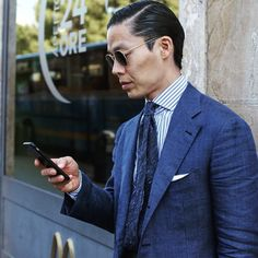 """violamilano:  """"He's not only one of the world's best dressed and most elegant gentlemen, he's also our partner… @thefinerycompany wearing our new Viola Milano """"Navy"""" raw vintage silk tie & jacket by @bntailor… Follow him today for more inspiration and..."""
