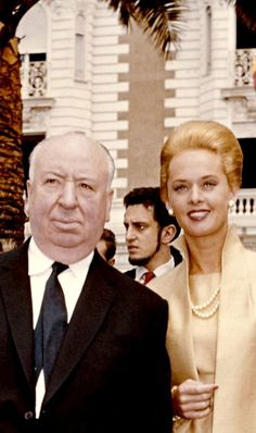Alfred Hitchcock & Tippi Hedren at the Cannes film festival to promote their film 'The Birds' ~ France, May 1963.