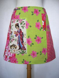 Geisha feeding Quails embroidery, upcycle, A-line skirt, phone pocket, lined, chinoiserie, flowers, check, pink green white red, size Small